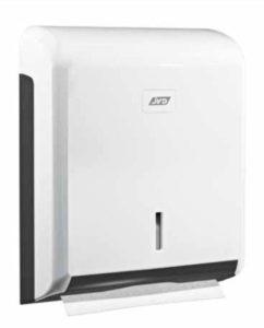 Distributeurs ABS Blanc pour essuie-mains pliés, vous permettant une distribution de papier feuille à feuille sécurisés avec son système de fermeture à clef